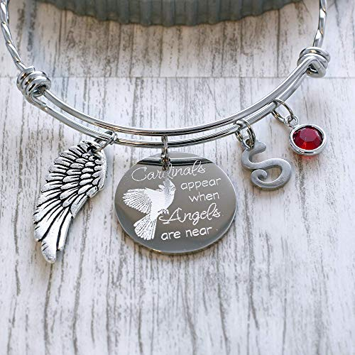 Personalized Cardinals Appear when Angels are Near Bracelet, Remembrance Bangle, Memorial Gift