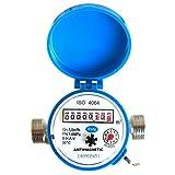 Compteur d'eau débit Maison et jardin 1,5 m3/h Connecteurs 20 mm 3/4' l'eau froide