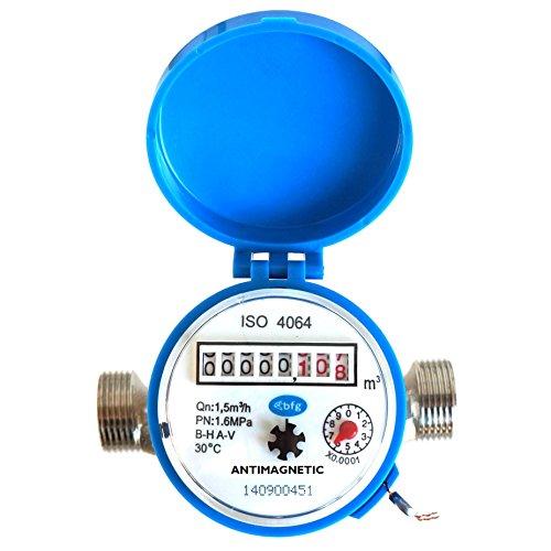 Compteur d'eau débit Maison et jardin 1,5 m3/h Connecteurs 20 mm 3/4\