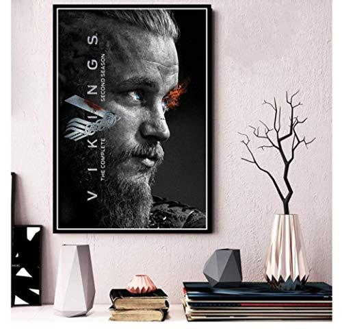 shifangtrade Póster Vikingos Serie de televisión clásica Muestra Carteles e Impresiones Lienzo Pintura Cuadros de Pared decoración del hogar Vintage 50 * 70Cm sin Marco