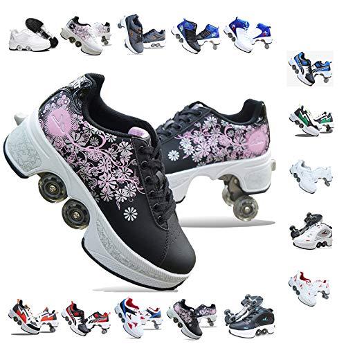 PLMOKN Rollschuhe Mädchen Quad Roller Skates Damen Skate Roller ,2-in-1- Skate Schuhe Sportschuhe Multifunktionale Deformation Schuhe Für Mädchen Unsichtbare Schuhe Fersenroller Kinder,Q-38