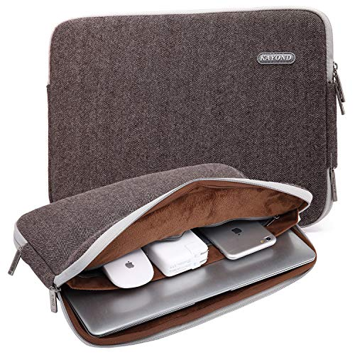 KAYOND Herringbone Woollen Waterproof Fabric 15.6-17 Inch Laptop Sleeve Case Compatible Old MacBook pro 17, Brown