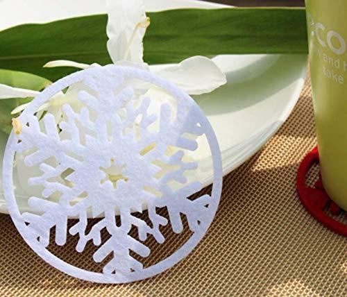 Zenguen Christmas Snowflake sottobicchiere feltro isolamento Pad Xmas cucina decorazione dieci pezzi, White, 9 x 9 cm