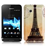 Rocina - Carcasa rígida para Sony Xperia Tipo Dual St21i, diseño de la Torre Eiffel
