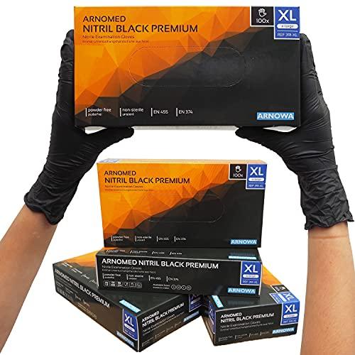 Guanti monouso ARNOMED XL, guanti neri monouso, 100 pezzi per scatola, senza polvere e senza lattice, guanti in nitrile, guanti di taglia S, M, L e XL