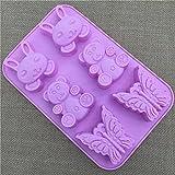 SUNIY Molde de Silicona 3D con Forma de Mariposa de Oso Conejito, Utensilios de Cocina, Barra de Comedor, Molde Antiadherente para decoración de Pasteles, Fondant,25,5 * 16,6 * 2,3 cm