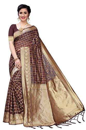 SHREE SWASTIK ENTERPRISE Women's Banarasi Silk Saree Indian Ethnic Dresses Wedding Sari with Blouse Piece (Brown)