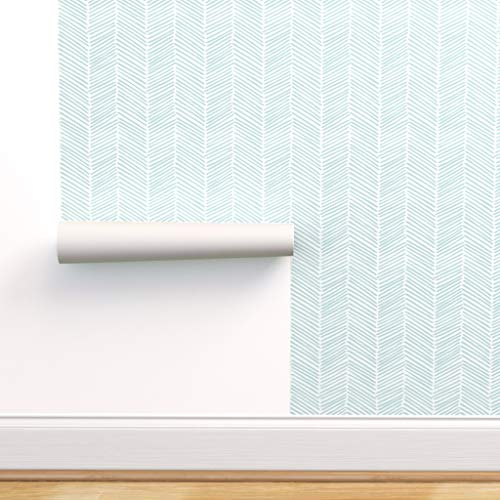 Spoonflower Peel and Stick Removable Wallpaper, Chevron Zigzag Arrow Mint Green Nursery Herringbone Print, Self-Adhesive Wallpaper 12in x 24in Test Swatch