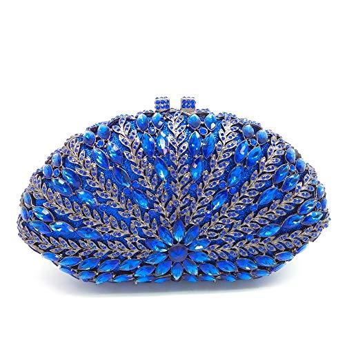 SILHKDBNB Aushöhlen Floral Frauen Grün Smaragd Diamant Abend Handtaschen Geldbörsen Damen Party Kristall Kupplung Hochzeitstasche Blau Abendtasche