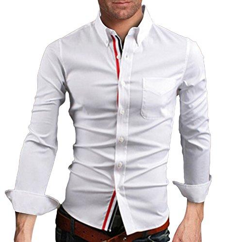 Homme Sport Chemise de Finition Habillée Manches Longues Couleur Contrasté Slim Fit Blanc FR L (Asiatique 3XL)
