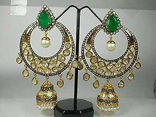 Victorian Style 10.50ctw Rose cut Diamonds Polki Emerald Pearl Sterling Silver Statement Long Danglers Earrings Chand Bali Mughal Jhumka