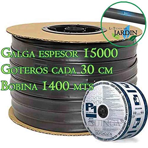 Rigo band voor druppels, 16 mm. Wanddikte 15 ml druppels: 30 cm. Platte tuinslang 1400 m. Debiet 1,5 liter per uur.