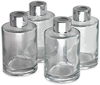 Feel Fragrance Glass Diffuser Bottles Diffuser Jars with Caps Set of 4 – 4.2 inches High, 120ml 4.06 Ounce. Fragrance Accessories Use for DIY Replacement Reed Diffuser Sets.
