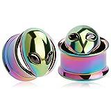 KUBOOZ(1 Pair Colorful Alien Ear Plugs Tunnels Gauges Stretcher Piercings 5/8'(16mm)