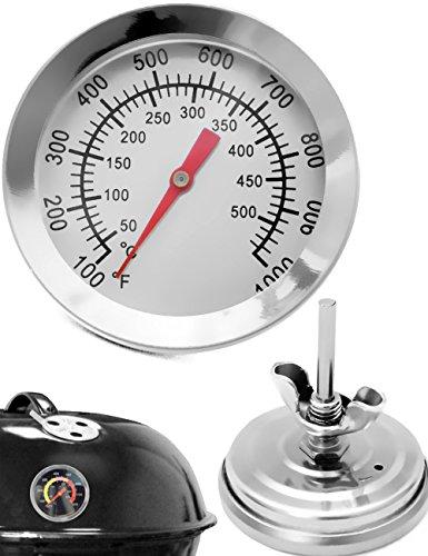 HomeTools.eu® - Temperatur-Beständiges analoges BBQ Grill-Thermometer Koch-Thermometer, zum Nachrüsten für BBQ Töpfe Bräter Smoker, Räucher-Ofen. 10°C - 500 °C