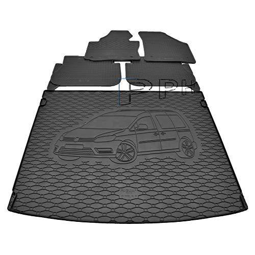 X & Z PPH – Juego de alfombrillas de goma para maletero para VW Caddy Maxi (5 m) a partir de 2005 hasta hoy