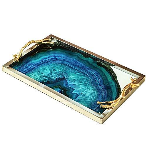 FAGavin Deko Leichte Luxus Blau Achat Steinmuster Großes Tablett Modell Raumdekoration Wohnzimmer Couchtisch Ablage