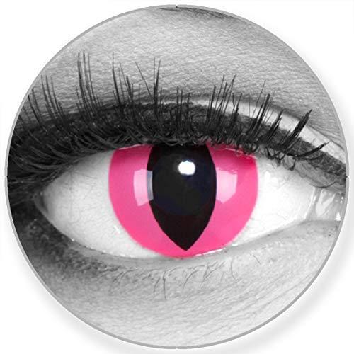 Funnylens Farbige Kontaktlinsen Pink Cat in rosa - weich ohne Stärke 2er Pack + gratis Behälter – 12 Monatslinsen - perfekt zu Halloween Karneval Fasching oder Fasnacht