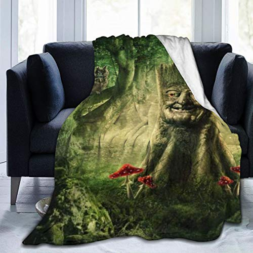 Minalo Throw Blanket for Kids Teens Adults Soft Warm Magic Stump Fantasy Fairy Forest Trees Owl Mushrooms Nature Microfiber All Season Living Room/Bedroom/Sofa Couch Bed Flannel Quilt,60' x 80'