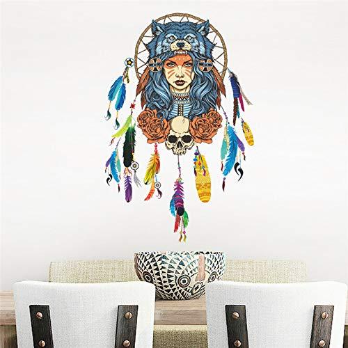 UPUPUPUP Capteur De Rêve Bricolage Plumes Sticker Mural Loup Fille Home Decor Chambre Salon Stickers Muraux Art Affiche Mural