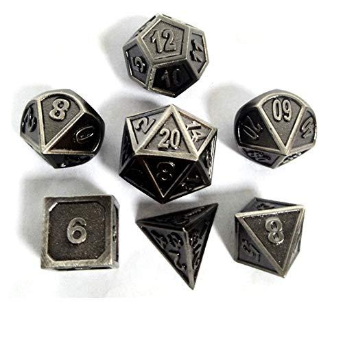 Metall Polyedrische 7-Die Würfel Set Für Dungeons and Dragons RPG Würfel Gaming Für D&D Mathematik Lehre, A3 Sril