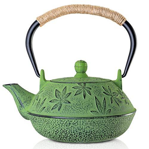 susteas Japanische Tetsubin Gusseisen Teekanne Teekessel für Herdplatte mit Infuser und Isolationsgriff (Grün / 700ml)