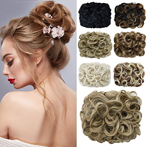 Yamel Messy Bun Scrunchie Combs Clip in Curly Stretch Updo Hair Pieces for Women Warm Beige Blonde