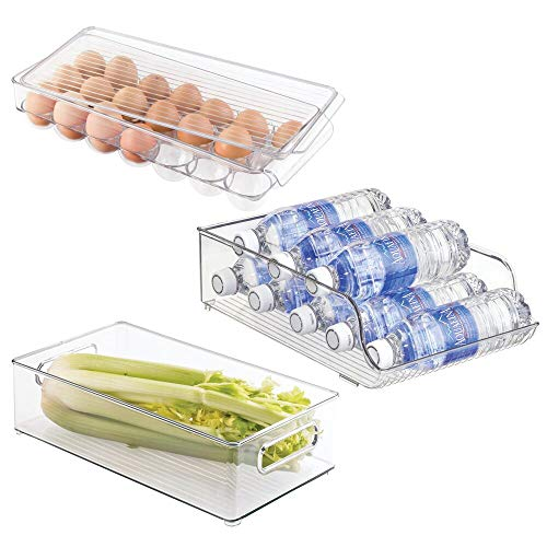 mDesign Juego de 3 organizadores para Nevera – Caja Transparente, Soporte para Botellas y huevera con Tapa – Cajas organizadoras para Cocina – Cajas de plástico para despensa – Transparente