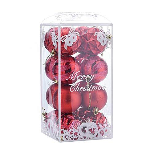 Tamkyo 16 adornos de bolas de Navidad, decoración de árbol de Navidad, bolas colgantes para el hogar, Año Nuevo, decoración de fiesta, 2.3 pulgadas, color rojo