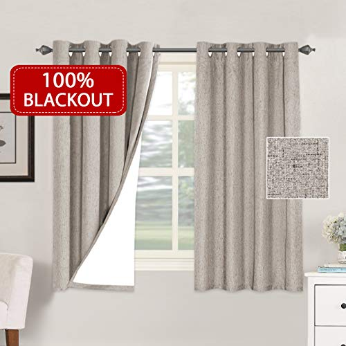 H.VERSAILTEX 100% Blackout Curtains for Living Room Rich Primitive Linen Look Blackout Curtain with Thermal Insulated Liner Waterproof Window Curtains...
