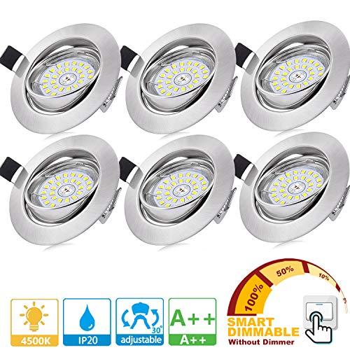 Bojim 6× Faretti LED da incasso per cartongesso Dimmerabile, GU10 6W Luce Bianco Naturale 4500K 600LM Pari a 54W 82RA IP20 230V, Faretti a led per interni Rotondo Orientabili di 30°Foro 68-80mm