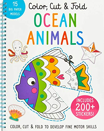 Color, Cut, and Fold - Ocean Animals: Art Books for Kids 4 - 8 - Boys and Girls Coloring - Creativity and Fine Motor Skills - Kids Origami - Sharks (Iseek)