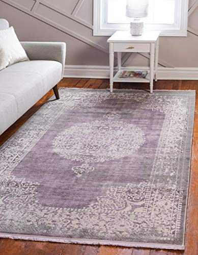 Unique Loom New Classical Collection Traditional Distressed Vintage Classic Purple Area Rug (5' 0 x 8' 0)