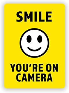 2-Pack Smile You're on Camera Vinyl Decal Sticker | 5-Inch by 7-Inch | Highly Visible | Premium Quality Vinyl Decal | Laminated with UV Protective Laminate | PD2743