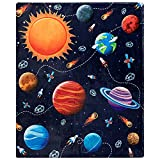 Solar System Throw Blanket, Extra-Large Outer Space Blanket for Kids Boys and Girls, Fleece Planets Blanket with Educational Galaxy Theme (50in x 60in) Plush Kids Throws for Boys for Bed, Couch, Sofa