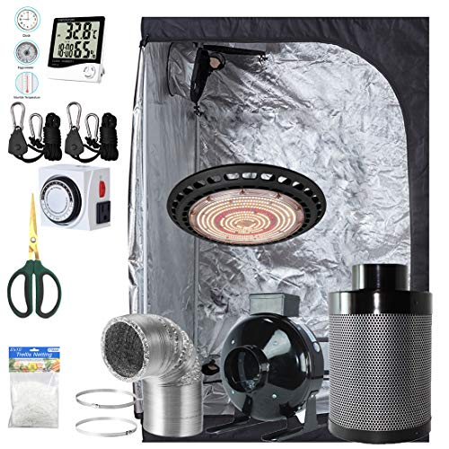 BloomGrow 600W Full Spetrum UFO LED Grow Light + 60''x32''x80'' Grow Tent + 6'' Fan Filter Duct Combo + Hangers + Hygrometer + Shears + 24-Hour Timer + Trellis Netting Indoor Grow Tent Complete Kit
