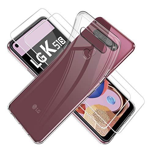 Reshias Hülle für LG K51S,Weich Transparent TPU Silikon Handyhülle Schutzhülle mit Zwei Gehärtetes Glas Schutzfolie Bildschirmschutzfolie für LG K51S (6,55 Zoll)