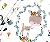 Panel Jersey Frühlingsfreunde Reh - weiß Eigendruck