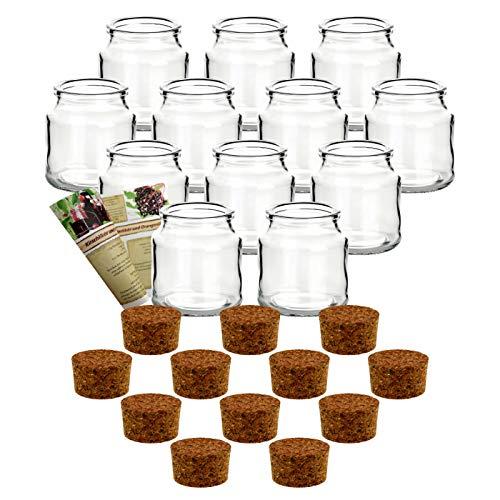 gouveo 12er Set Korkenglas Rondo 200 ml inkl. Korken, Gewürzgläser, Glasdose, Aufbewahrungsglas, Korkenglas, Stopfenglas