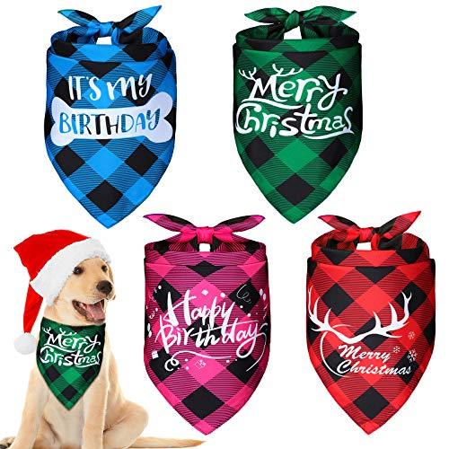 2 Stück Festival Reversibel Hund Bandana für Geburtstag und Weihnachten, Verstellbare Haustier Dreieck Schal Süße Haustiere Lätzchen mit Büffel Plaid Stil für Kleine Mittelgroße Hunde