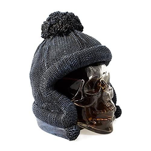 Piccolo decanter in vetro – Contenitore in vetro con teschio personalizzato con tappo lavorato a maglia, decorazione per casa, bar, cucina, feste, per vino, liquori, succhi (380ML)