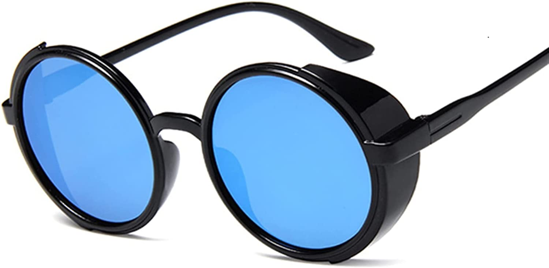 FDNFG Gafas de Sol Retro Negro Steampunk Gafas de Sol Mujeres Diseñador Redondo Metal Steam Punk Shields UV400 Gafas de Sol Hembra Gafas de Sol (Lenses Color : Black Blue)