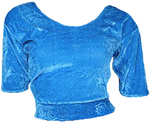 Hellblau Choli (Sari Oberteil) Samt Gr. 44/46 Gr. XL ideal für Bauchtanz