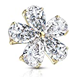 FIFTH CUE 14G Five Pear CZ Flower 316L Surgical Steel Internally Threaded Dermal Anchor Top (Gold/Clear)