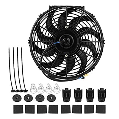 Engine Cooling Fan, 12 inch High Performance 12V Electric Slim Radiator Cooling Fan Universal Car Push Pull Engine Fan with Mounting Kit
