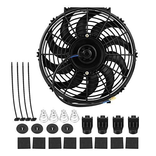 Ventilador de enfriamiento de 12 pulgadas, ventilador universal de enfriamiento del motor eléctrico de empuje delgado para automóvil 12V