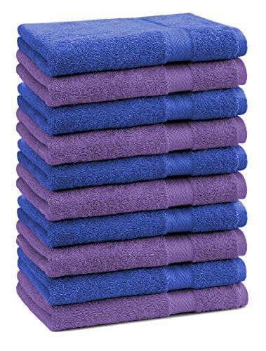 Betz Lot de 10 Serviettes débarbouillettes lavettes Taille 30x30 cm en 100% Coton Premium Couleur Bleu Royal et Violet