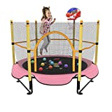 Kawuneeche 5FT Trampoline for Kids Toddler Indoor Trampoline with Safety Enclosure Net, Mini Basketball Hoop, Jumping Mat for Home Entertainment Equipment Outdoor Backyard Games (Pink)