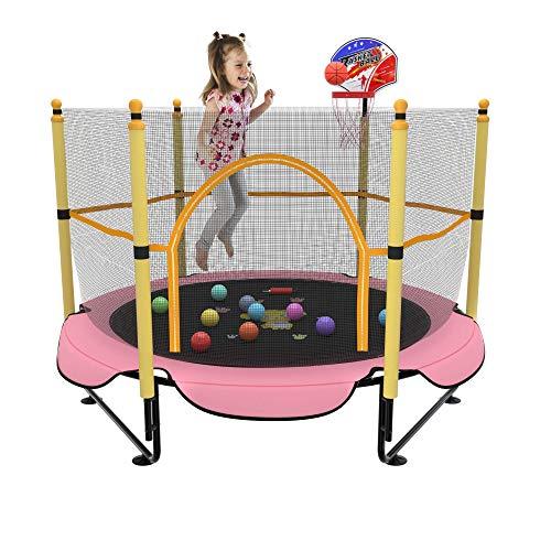 Kawuneeche Cama elástica para niños de 5 pies con red de seguridad, mini aro de baloncesto, alfombrilla de salto para equipo de entretenimiento en el hogar, juegos de patio al aire libre (rosa)