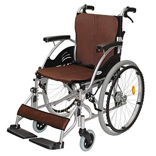 ケアテックジャパン 自走式 アルミ製 折りたたみ 車椅子 ハピネス ブラウン CA-10SU